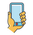 hand holding smartphone or mobile phone concept vector image vector image