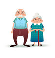 happy cartoon senior couple fanny flat characters vector image