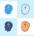 headache concept icon set in flat and line styles vector image vector image