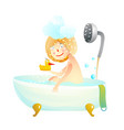 Little kid girl taking a shower bath