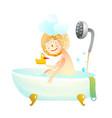 Little kid girl taking a shower bath vector image