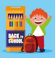 little student boy with school colors pencils vector image