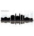 managua nicaragua city skyline black and white vector image vector image
