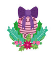 merry christmas celebration ball flower bow leaves vector image