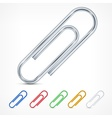 Metallic color paperclips on white vector image vector image