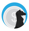 money and chess horse vector image vector image