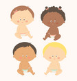 multi-ethnic set of four babies sitting toddler vector image vector image