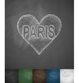 Paris in heart icon Hand drawn vector image