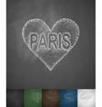 Paris in heart icon Hand drawn vector image vector image