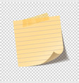 realistic sticky note sheet blank lined paper vector image vector image