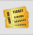 realistic two gold cinema tickets isolated object vector image