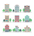 retro city houses vintage apartment buildings vector image vector image