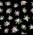 rose flowers bouquet seamless pattern black vector image vector image