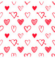seamless pattern with red hand drawn hearts vector image vector image