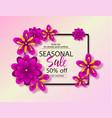 seasonal sale background with beautiful flowers vector image vector image
