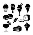 Set of black isolated food icons desserts ice vector image vector image