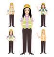 Set of engineer women vector image vector image