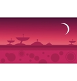 Silhouette of alien spacecraft at night vector image vector image