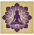 silhouette of girl in yoga pose on flower vintage vector image vector image