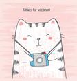 sketch cartoon cat hugs his photo camera vector image vector image