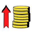 stacks of coins with red arrow icon cartoon vector image