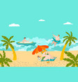 summer rest on beach people swimming and vector image vector image