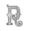 The vintage style letter R vector image vector image