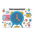 thin line time management poster banner vector image