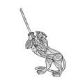 tiger brandishing katana mandala vector image