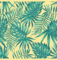 tropical leaves blue tone yellow background vector image vector image