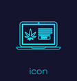 turquoise line laptop and medical marijuana or vector image vector image