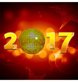 Twenty Seventeen with disco ball over festive vector image vector image