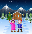 two kids waving hand in front of the snowy wooden vector image