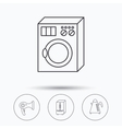 Washing machine teapot and hair-dryer icons vector image vector image
