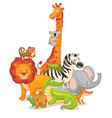 wild animals posing together vector image