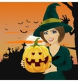 Young woman dressed like witch vector image vector image