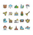 russia travel and tourism color thin line icon set vector image