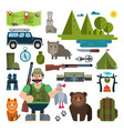 set of icons for hunting vector image