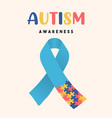 autism awareness day puzzle ribbon game card vector image vector image