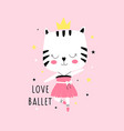 ballerina cat print design vector image vector image