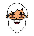 bearded man face old character vector image