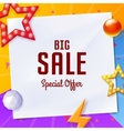 big sale banner with elements on paper on colorful vector image