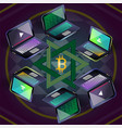 bitcoin group of six laptops on sri yantra vector image