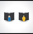 Book icon with pencil and nib stock vector image