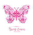 breast cancer awareness with butterfly sign and vector image