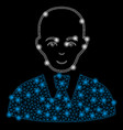 bright mesh 2d bald clerk with flash spots vector image vector image