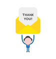 businessman character holding up thank you vector image vector image