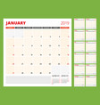 calendar planner template for 2019 year week vector image vector image
