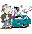 cartoon of a car seller and a customer looking at vector image vector image