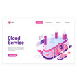 cloud service database landing page isometric vector image vector image